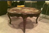 Onyx table top with mahogany frame