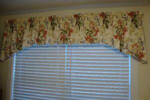 Window treatment with matching Queen bed skirt