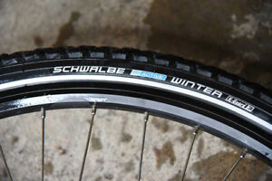 "26"" Schwalbe Winter Bike Tires with Rims, Hubs, Disks"