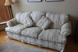 Couch, green/cream colour, cloth. Good condition.