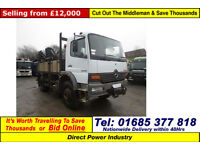 2001 - Y - MERCEDES ATEGO 1317 4X4 13.5TON FLATBED C/W WITH ATLAS CRANE