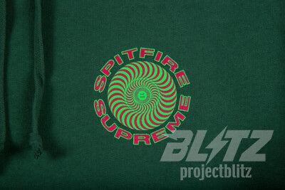 SUPREME SPITFIRE HOODED SWEATSHIRT DARK GREEN S M L XL SWIRL HOODIE BOX LOGO (Green Swirl Logo)