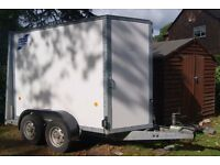 Ifor Williams Box trailer, twin axle, plated to carry 2584kg.