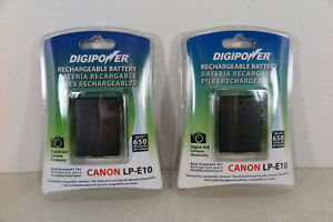 Lot of 2 Digipower BP-LPE10 Replacement Li-Ion Battery Canon T3
