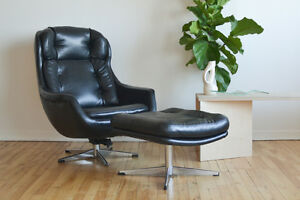 Selig Egg Chair Black Leather Mid Century