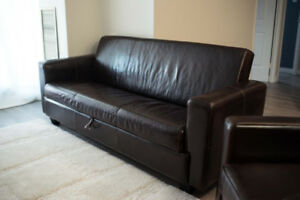 2pc PURE Leather Sofabed w Matching Leather Chair