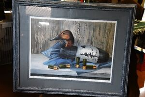 Limited Edition print of Canvasback decoy with shells.
