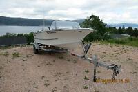 14ft Crestliner fiberglass boat/ 50 hp honda 4 stroke/trailer