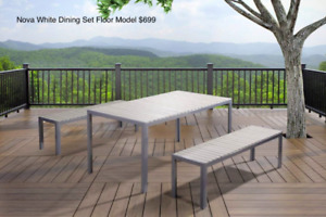 Outdoor Aluminum Poly Wood Dining Set Floor Models.