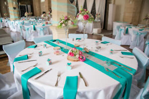 Turquoise Jute / Burlap Runners Clean - Used for a Wedding