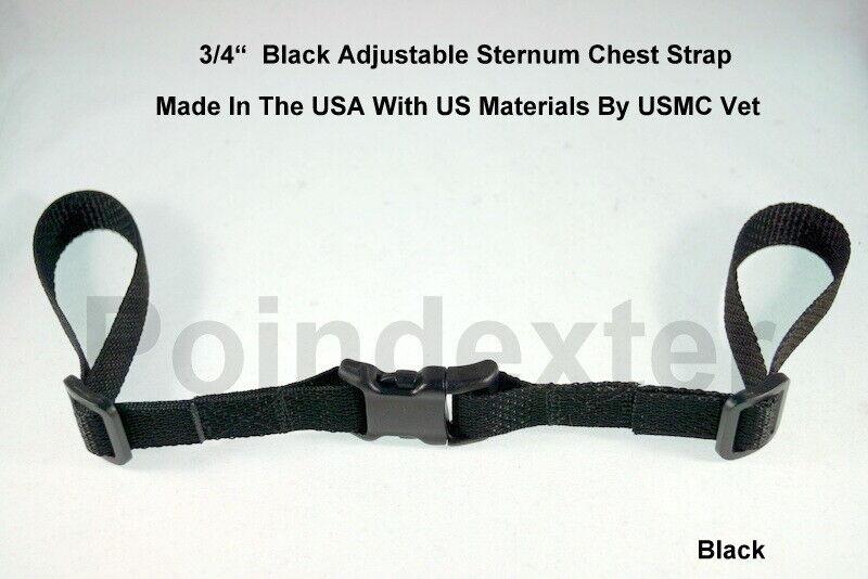Backpack Chest Strap, 3/4 Inch, Black Webbing, Sternum Strap
