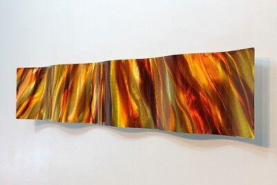 Amber/Gold Abstract Metal Wall Art Wave Accent - Modern Home Decor by Jon Allen