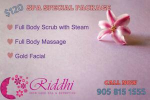 FREE VICHY SHOWER w/1hr massage & ful body scrub w/steam only$99