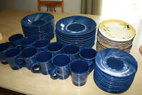 Huge Set of Stoneware Dishes, 12 place settings