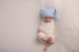 Newborn Photography Props Newborn Bonnet Hand Knit Hat Blue