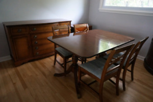 Solid Wood Dining Table Buffet 6 Chairs