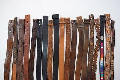 Vtg Lot of 19 Brown Tooled Monogram Leather Western Cowboy Belts Mens & Womens