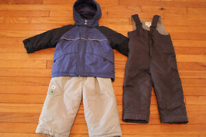 24 months 3 in 1 jacket and snowpants, 2T snowpants $20
