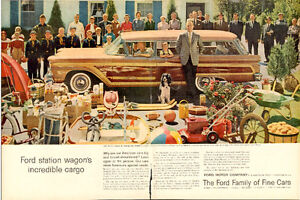 2-page (20 ½ x 14 ) color magazine ad, 1959 Ford Country Squire