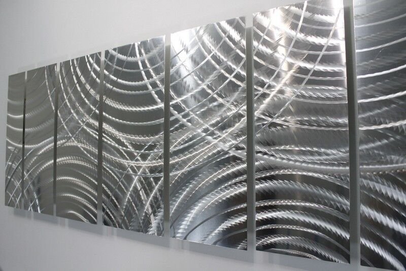 Metal abstract modern wall art silver sculpture home decor for Origine metal resinence