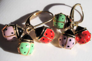 14K Yellow Gold Beautiful ENAMEL LADYBUG Earrings