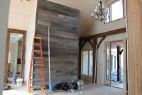 Designer Reclaimed Wood Accent Wall and Doors Installation
