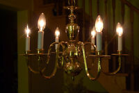 Solid Brass Chandelier - 6 Light - Traditional Style