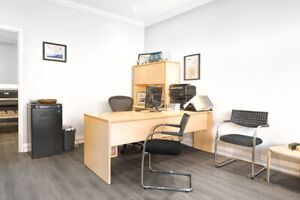 Two Custom Office L-Shape Desks With Hutch