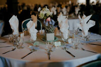 Blue table runners- Wedding centrepieces