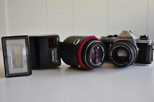 Pentax MX with 2 Prime Lenes and Flash