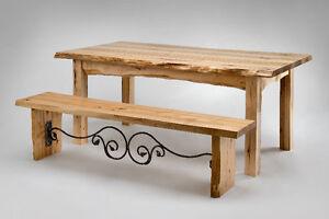Tables de cuisine en bois massif et fer forgé