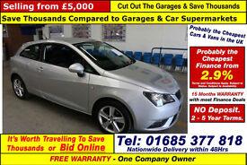 2013 - 63 - SEAT IBIZA TOCA 1.4 PETROL 3 DOOR HATCHBACK (GUIDE PRICE)