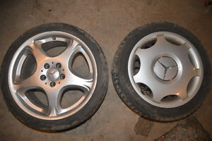 """Mercedes Benz 18"""" Rims, and 16"""" new snow tires"""