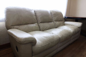 Leather Couch & Chair Recliner Set, Cream