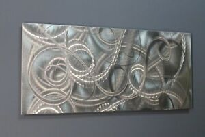 Metal-Wall-Art-Abstract-Modern-Silver-Panel-Art-Sculpture-Delight-by-Jon-Allen