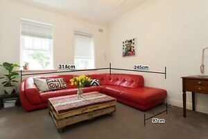 Red Italian Leather Sofa Surry Hills Inner Sydney Preview