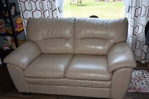 Genuine real leather sofa and love seat