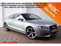 2008 Audi A5 3.0TDI Quattro Sport-FULL SERVICE HISTORY-LEATHER-XENON LIGHTS-