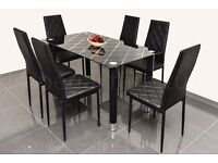 dining table and chair set printed glass dining table with 6