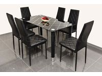 DINING TABLE AND CHAIR SET - PRINTED GLASS DINING TABLE WITH 6 MATCHING CHAIRS BRAND NEW BOXED