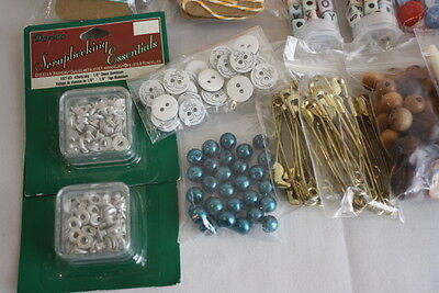 Junk Drawer Jewelry Craft Supplies Beads Buttons Scrapbooking Items - $26.39