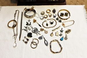 Large lot of Vintage/Estate Costume Jewellery and Box