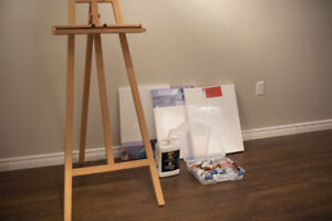 Complete Oil Painting Set - Easel, Paints, Canvas, Brushes etc.