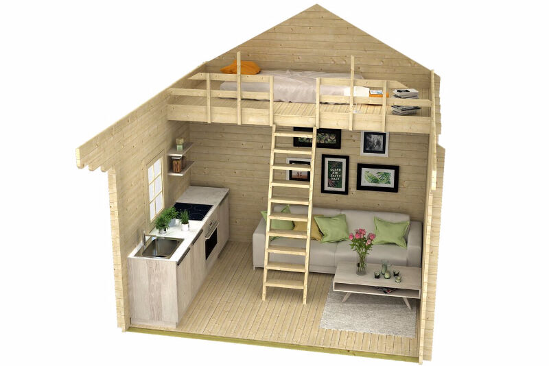 No Permit Required 257 Sq Ft Log Loft Bunkie Cabin Shed