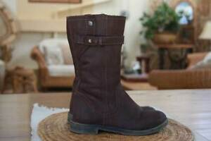 ZARA GIRLS SOFT RUSTIC DARK BROWN GENUINE LEATHER BOOTS Sz 27 Alberton Port Adelaide Area Preview