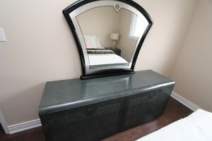 Black Italian Made Dresser With Mirror + 2 Bed Side Table