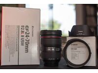 Canon EF 24-70mm F2.8L II USM lens for sale, mint condition, with box