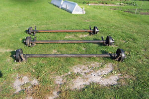 TRAILER AXLES WITH BRAKES AND TIRES