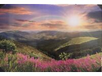 Stunning Rainbow over hills high quality canvas - glows in the dark
