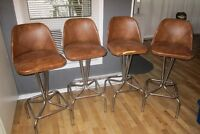 4 BAR STOOLS - BROWN WITH BACK REST & SWIVEL ! L@@K !